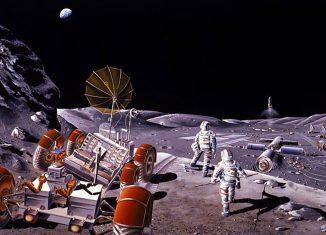 Diseño artístico de una base lunar y de la actividad fuera de la base. Se realizó en 1984 durante un Estudio de Verano de la NASA en el Instituto Espacial ...