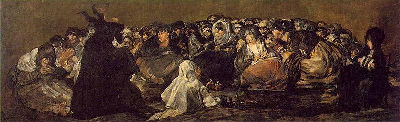 El cuadro El aquelarre o El gran Cabrón es una de las pinturas al óleo sobre revoco que conforman las llamadas Pinturas negras con que Francisco de Goya decoró los muros de su casa de la Quinta del Sordo. La serie fue pintada entre 1819 y 1823. Wikipedia